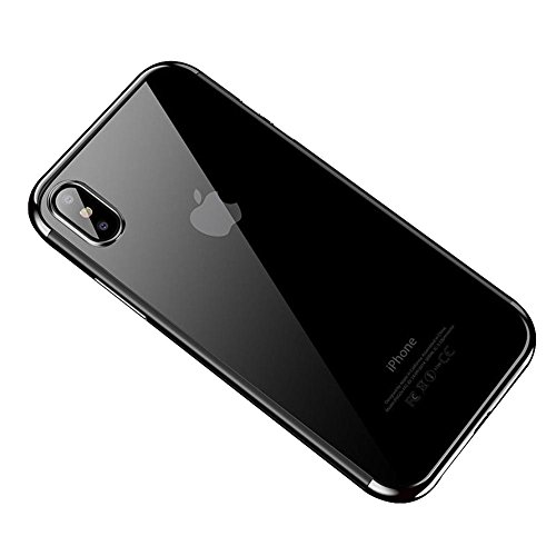 HONTECH Compatible iPhone Xs Max 2018 Case, Ultra-Thin Clear Soft TPU Plating Shockproof Protective Cover 6.5 inch, Silver