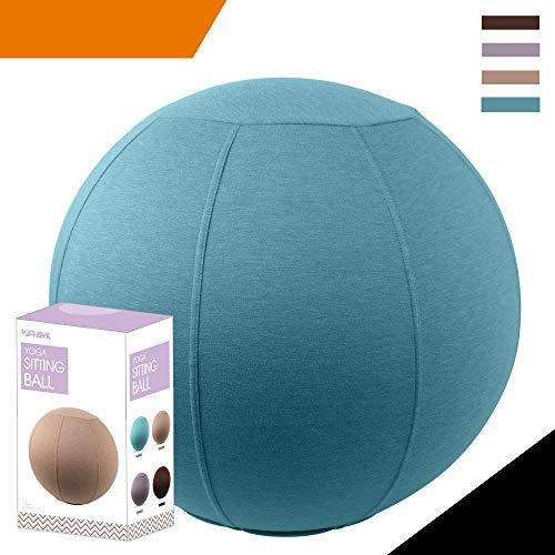 Sport Shiny Classic Balance Ball Chair,Exercise Stability Yoga Ball with Machine Washable Slipcover,Ergonomic Sitting Ball Chair for Multiple Appliances,65cm Size,Aqua,Quick Pump&Instruction