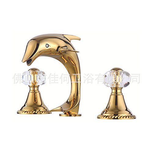 Furesnts Modern home kitchen and Bathroom Sink Taps Copper luxury art third HOLE WASHBasin Mixer Dolphin Bathroom Sink Taps,(Standard G 1/2 universal hose ports) by Furesnts Faucet (Image #2)