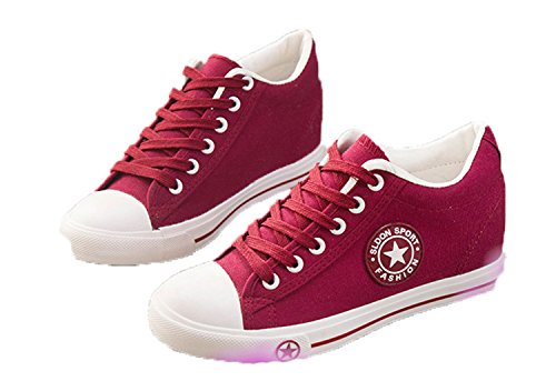Female Summer Trainers 5 Shoes Red Wedges Cm White Women Cute Casual Canvas Tenis Zapatos Basket Stars Height Mujer Sneakers YBwFY