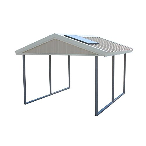 Premium Canopy 12 ft. x 20 ft. Ash Grey and Polar White All Steel Carport Structure with Durable Galvanized Frame by PWS