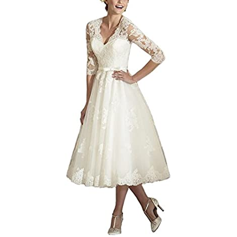 ABaowedding Women's V Neck Long Sleeves Tea Length Short Wedding Dress