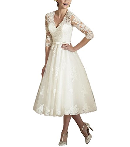 ABaowedding Women's V Neck Long Sleeves Tea Length Short Wedding Dress US 12 Ivory