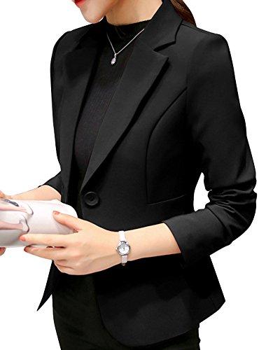 Manica Nero Con Donna Risvolto Yonglan Lunga Bottone Fit Slim Singolo Casual Giacca Blazer 4qwq7z0