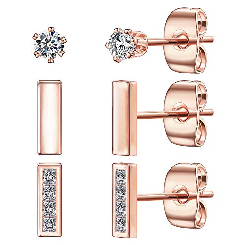 Tone Earrings Sport Gold - Tiny Stud Earrings for Women, 14K Rose Gold Plated 925 Sterling Silver Bar Earring CZ Simulated Diamond Ear Stud Set Brilliant Cubic Zirconia Inlaid(Rose Gold/3 Pairs)