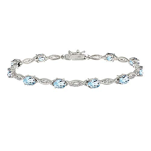 GemStar USA Sterling Silver Blue and White Topaz Oval-Cut Swirl Tennis Bracelet