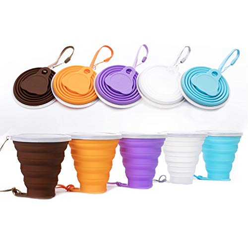 10 oz Silicone Collapsible Travel Cup Mugs Reusable- Silicone Folding Camping Cup with Lids - Expandable Drinking Cup Set - BPA Free, Portable, Water, Coffee, Coca Cola for Hiking, Camping (coffee) ()