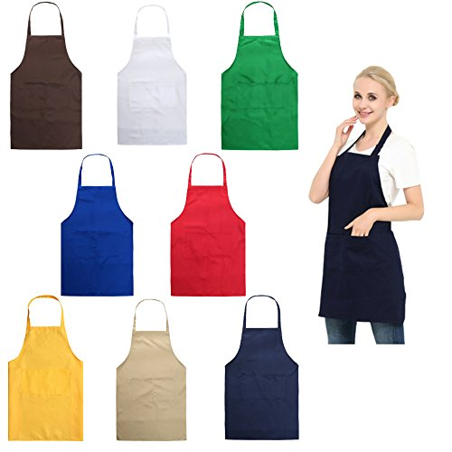 YUYIKES Set of 8 Plain Color Adult Bib Aprons with 2 Roomy Pockets Water Resistant Adjustable Kitchen Chef Aprons For Cooking Baking Kitchen Restaurant crafting by YUYIKES