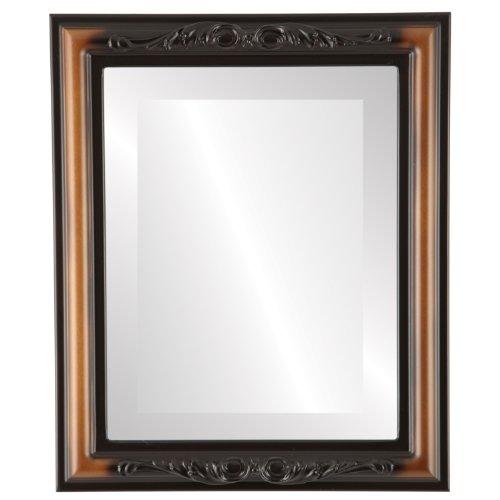 Rectangle Beveled Wall Mirror for Home Decor - Florence Style - Walnut - 28x34 outside dimensions