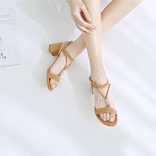 Sandales Abricot 35 Taille Mots Grossier Élégant Mode Jingsen L'été Black Coréen Des De Rétro Avec Féminine Sauvages couleur vpawq1Bf