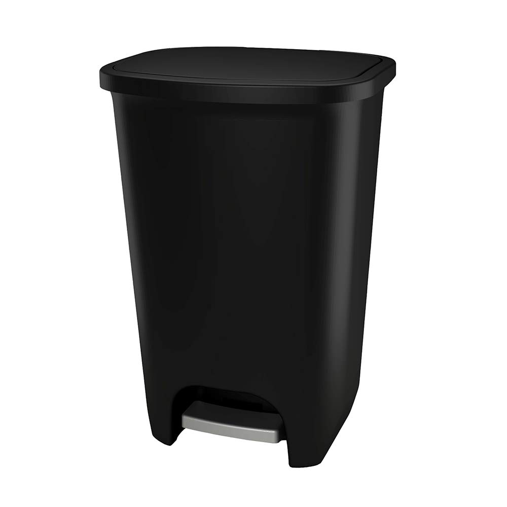 GLAD GLD-74056 75 Liter Extra Capacity Plastic Step Can with CloroxTM Odor Protection | Fits Kitchen Pro 20 Gallon Trash Bags, Matte Black