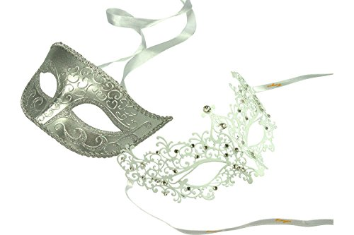 Costume De Couple Original (KAYSO INC Original Lover's White Collection - Couple's Masquerade Mask Set, Set 8)