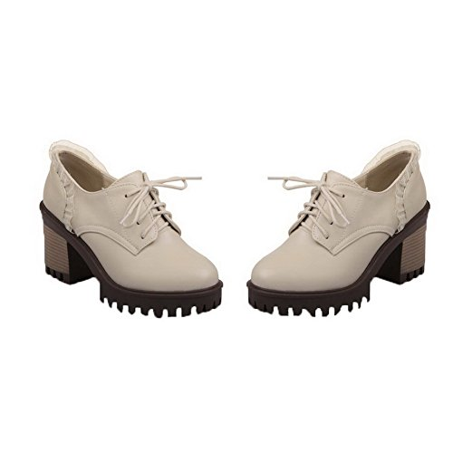 Alti Floreali Donne scarpe Beige Pompe toe Pu Delle Round Tacchi Stringate Amoonyfashion TIR4wH