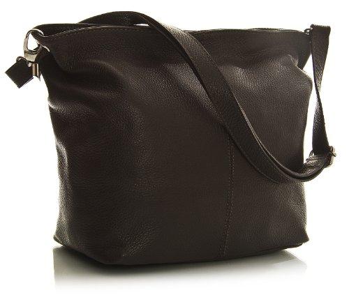 a italiana Handbag Coffee tracolla Borsa da vera medio in formato pelle donna Shop Big 6Rqwpx