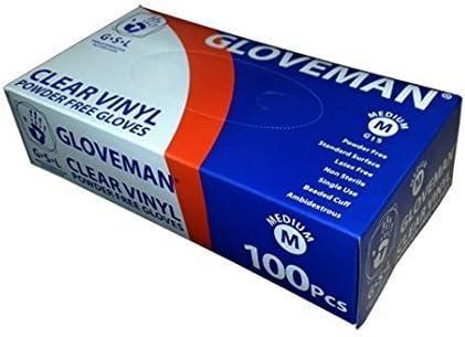 Box of 100 Gloveman Clear Vinyl Gloves Large