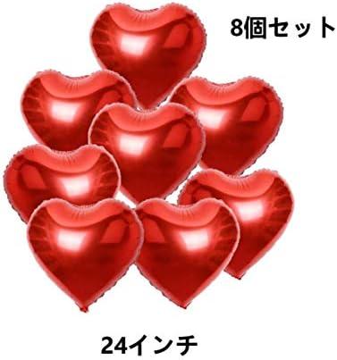 【Shiseikokusai 】巨大 バルーン ハート型風船 60cm アルミ風船 写真撮影/誕生日/結婚披露宴/イベント ための装飾 赤8枚 セット(hongxin-24yc-08mei)