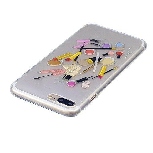 Coque iPhone 8 Plus Produits de beauté Premium Gel TPU Souple Silicone Transparent Clair Bumper Protection Housse Arrière Étui Pour Apple iPhone 8 Plus + Deux cadeau