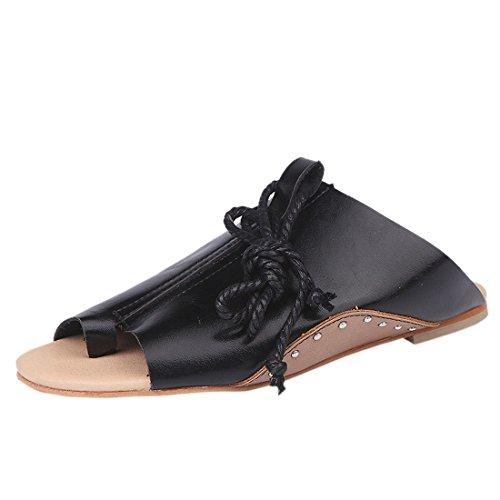 Sandalias Negro Fondo Tiras Romanas Abiertas QIYUN Tobillo Z Plano Zapatos Planas De Sandalias De De qwRxU156