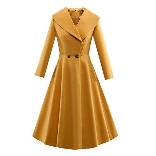 YouPue Damen 1950s Vintage Kleid Lange Ärmel Zweireihig Saum Windbrecher Kleid Gelb h16Q88tC
