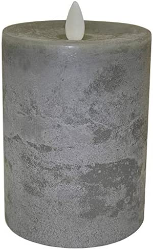 Raz Imports 3.5 X5 Moving Flame Grey Chalky Pillar Candle – Flameless Lighting Accent and Battery Operated Flickering Light Source with Timer – Fake Candles for Living Room, Patio and Bedroom