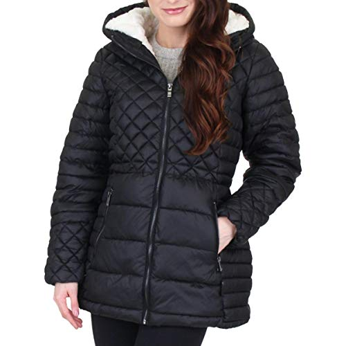 Steve Madden Women's Insulated Parka Jacket, Multi Quilted Glacier Shield Black, S