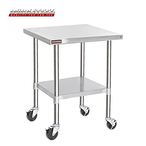 "DuraSteel Stainless Steel Work Table 30"" x 30"" x 34"" Height w/ 4 Caster Wheels -  Food Prep Commercial Grade Worktable - NSF Certified - Good For Restaurant, Business, Warehouse, Home, Kitchen, Garage from DuraSteel"
