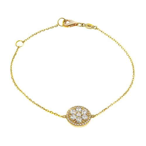 Solitaire Yellow Bracelet (1.1 CT Round Cut CZ Cluster Solitaire Designer Pave Unique Chain Bracelet Halo 14k Yellow Gold)