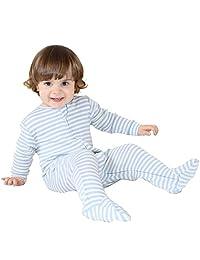 Woolino Baby Boys Footie Pajama Sleeper, Merino Wool, 3-6 Months, Blue