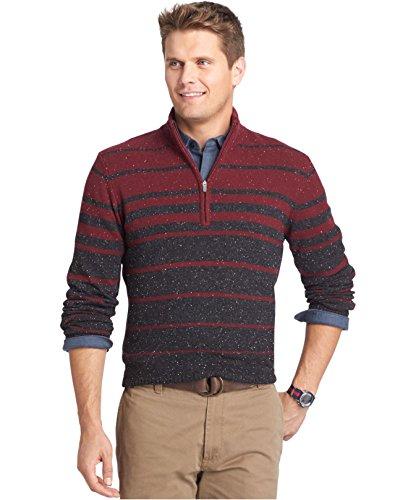 Izod Men's Striped Quarter-Zip Donegal Sweater Red Wine (Large)