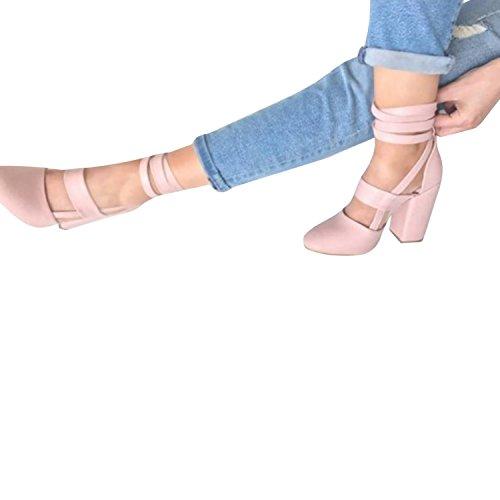 Dames Ronde Neus Stiletto Strappy Dikke Gestapelde Hoge Hakken Uitgesneden Jurk Schoenen Laarzen Roze