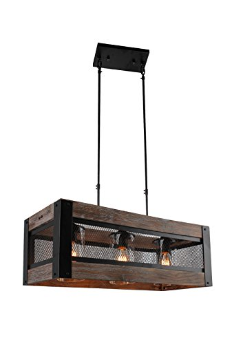 24 Inch Wide, Wood Wooden Rectangular Farmhouse Pendant Wire Mesh 3 - Light (Rectangular Farmhouse)