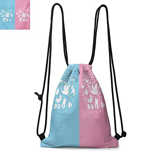 Squad Backpack Icon - Gender RevealDurable Drawstring BackpackCute Icons Girls Boys Baby Shower Theme Stylized Toys PatternSuitable for carrying around W17.3 x L13.4 Inch Sky Blue and Pale Pink