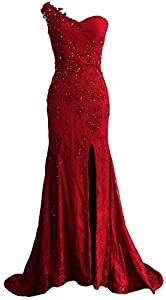 MACloth Women One Shoulder Long Prom Dress Mermaid Lace Formal Evening Gown