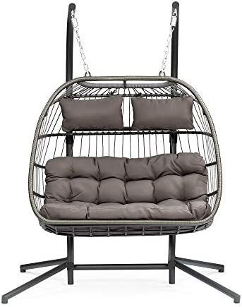 2 Person Patio Hanging Egg Chair with Stand and Cushion,Rattan Wicker Swing Hammock Chair,Porch Basket Chaise Lounge Swinging Chair for Outdoor Bedroom Backyard Balcony Brown 2 Person X-LARGE