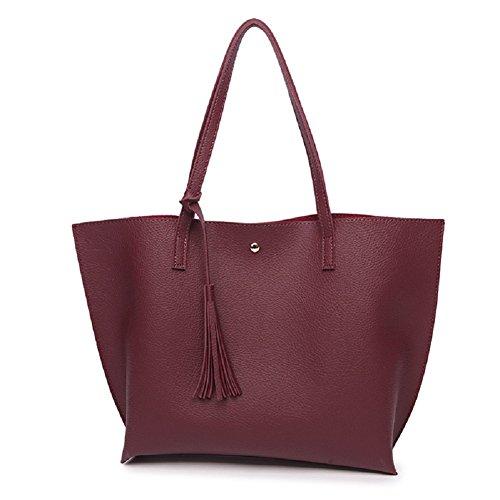Oudan Bolso de cuero del color sólido de las señoras que cuelga las borlas la bolsa de asas Bolso de hombro de la capacidad grande viaje al aire libre mujer (Color : Negro, tamaño : Un tamaño) Vino Tinto