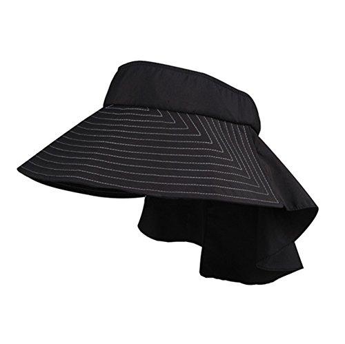 Wide Brim Black Taslon UV Packable Visor by Mega Cap