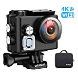 Sports Action Camera 4K WiFi Ultra HD Underwater Waterproof 40M Diving Cam with Sony Sensor 170° Ultra-Wide Angle Anti-Shake 2 Rechargeable Batteries and Accessories Kits,Wimius L2