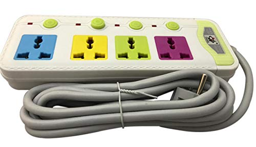 Bigapple 4 Socket Multicolour Extension Board, 10A, 3 Meter Wire/Cable