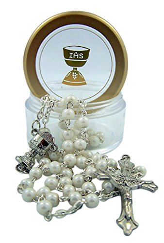 Communion Case Rosary First (First Communion White Rosary Necklace in IHS Chalice Rosary Case, 24 Inch)