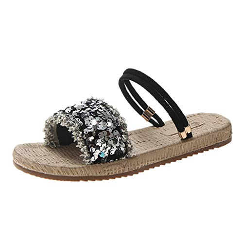 Shusuen Sequin Shoes for Womens Slippers with Metallic Sandals