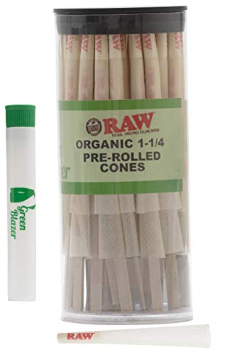 Raw Pre-Rolled Cones Organic 1 1/4: 100 Pack - Hemp Rolling Papers with Filters - Extra Clean and Slow Burning Cone Made of Pure Hemp - Doob Tube Included (Cone Pre Rolled Rolling Paper)