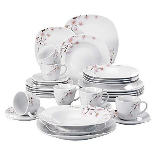 - VEWEET 30-Piece Ceramic Dinnerware Service for 6 Ivory White Porcelain Floral Pattern Dinner, Soup, Salad Plate, Bowl Set (Annie Series)