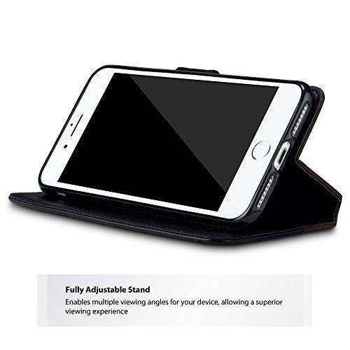 iPhone 7 Plus Cover, Terrapin Premium di cuoio del raccoglitore con Funzione di Appoggio per iPhone 7 Plus Custodia Pelle, Colore: Nero / Bruna