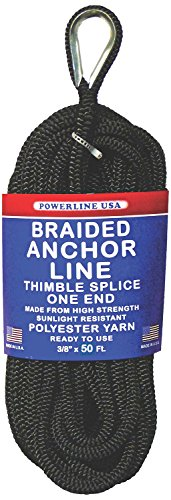 Rope USA Braided Anchor Line, Black, 3/8-Inch x 50-Feet (Unicord Anchor Line)