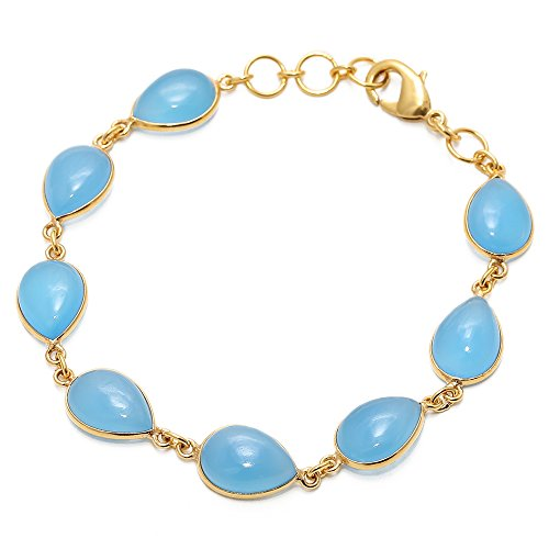 Sitara Collections SC10360 Gold-Plated Brass Bracelet, Blue Chalcedony