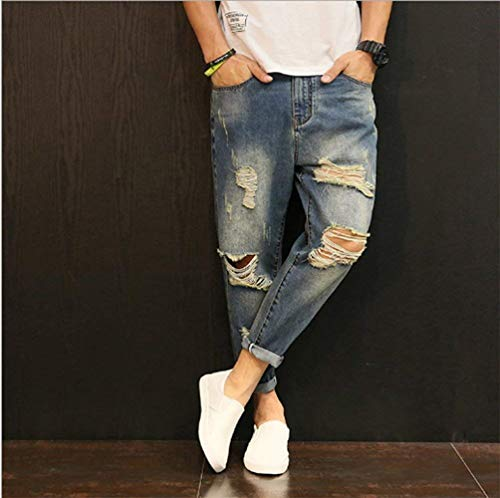 Fit Pants Masculina Straight Blau De Harem Pantalones Loose Distressed Skinny Frayed Vaqueros Jeans Moda Ripped Destroyed De Mezclilla PCWSq