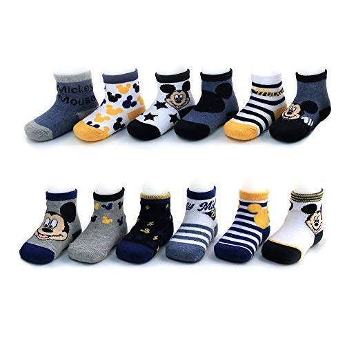 Disney Baby Boys Mickey Mouse Assorted Color Design 12 Pair Socks Set, Age 0-24 Months (12-24 Months, Grey-Blue-Yellow Collection)