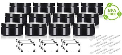 Black PET Plastic (BPA Free) Refillable Low Profile Jar - 8 oz (12 Pack) + Spatulas and (Black Plastic Jars)