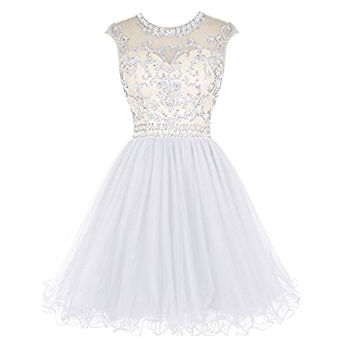 Tideclothes ALAGIRLS Beaded Prom Dress Short Tulle Homecoming Dress Hollow Back White US2