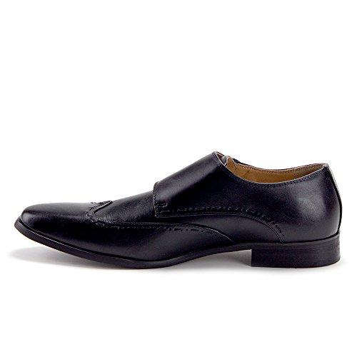 Jaime Aldo Hommes En Détresse Double Moine Sangle Aile Pointe Mocassins Occasionnels Robe Chaussures Noir - 2